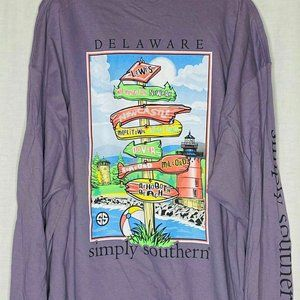 Simply Southern Purple Delaware State T Shirt M